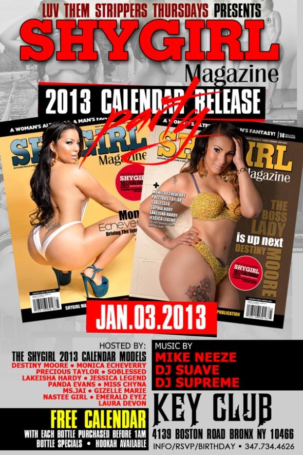 ShyGirl Magazine Calendar (Release Party Jan. 3) In New York